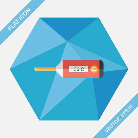 digital thermometer: medical thermometer flat icon with long shadow,eps10