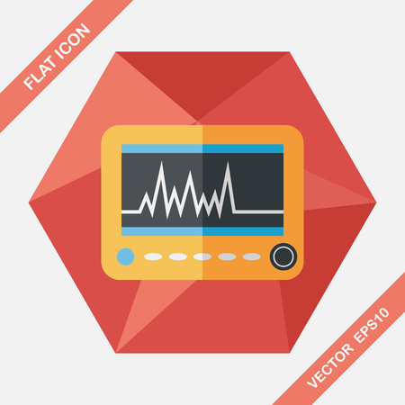 ecg monitoring: monitor in the ICU flat icon with long shadow,eps10