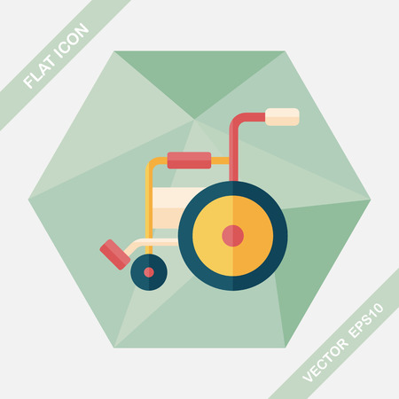 physical impairment: Wheelchair flat icon with long shadow,eps10