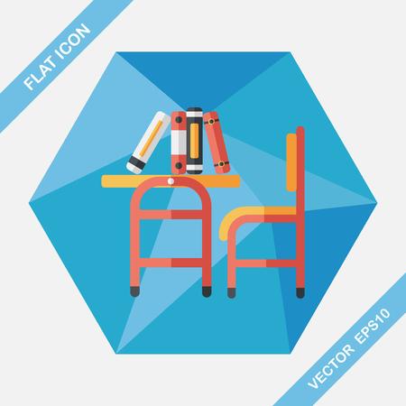 school class: Vintage school desk flat icon with long shadow,eps10