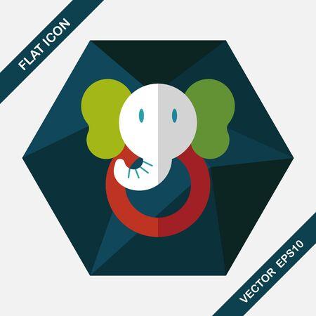 pull toy: icono plana juguete elefante con larga sombra, eps10