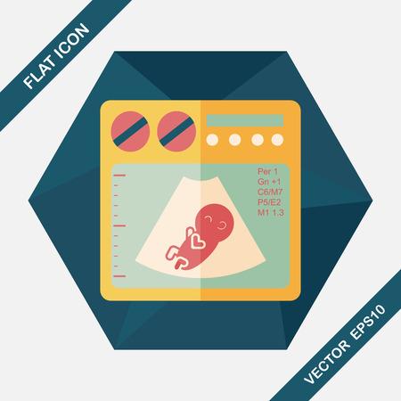 xray machine: ultrasound baby flat icon with long shadow,eps10
