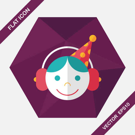 birthday party: Birthday party boy flat icon with long shadow,eps10 Illustration