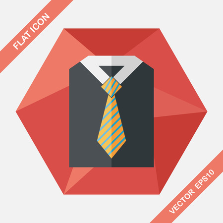 men shirt: business shirt and tie flat icon with long shadow,eps10
