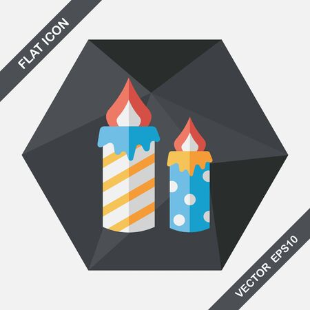 outdated: Candle flat icon with long shadow,eps10