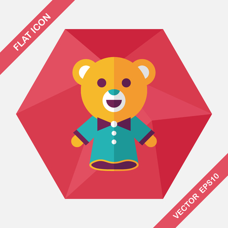 fable: bear hand puppet flat icon with long shadow,eps10