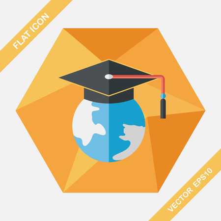 apprenticeship: e-learning flat icon with long shadow,eps10 Illustration