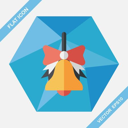design objects: school bell flat icon with long shadow,eps10