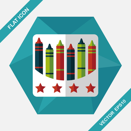 descriptive: crayons flat icon with long shadow,eps10 Illustration