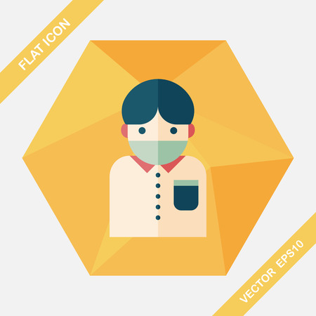 diseased: Patient flat icon with long shadow,eps10