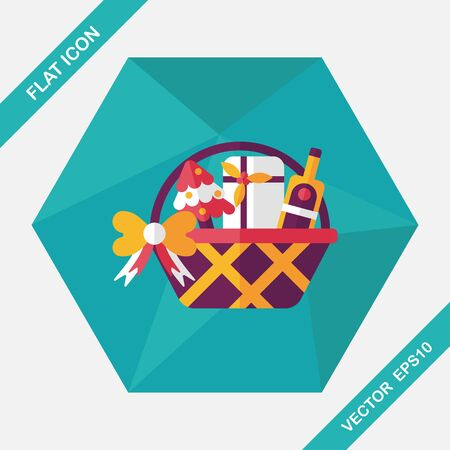 Christmas gift baskets flat icon with long shadow, eps10