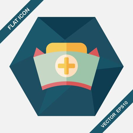 nursing uniforms: nurse hat flat icon with long shadow,eps10 Illustration