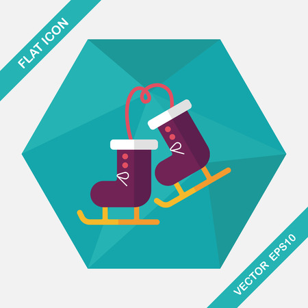 foot gear: ski boot flat icon with long shadow,eps10
