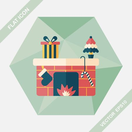 christmastime: Christmas fireplace flat icon with long shadow,eps10