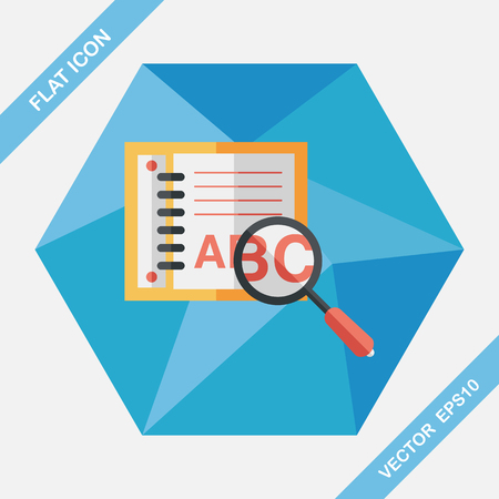 thesaurus: search Dictionary book flat icon with long shadow,eps10