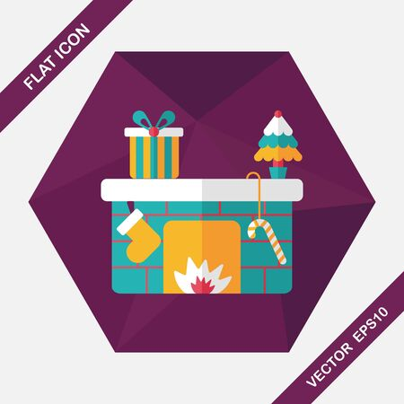family living room: Christmas fireplace flat icon with long shadow,eps10