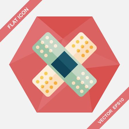 bandaging: medical bandage flat icon with long shadow,eps10 Illustration