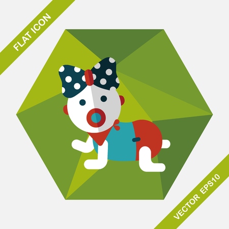 hispanic boy: baby rattle flat icon with long shadow,eps10