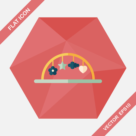 baby crib: Baby crib hanging toy flat icon with long shadow,eps10
