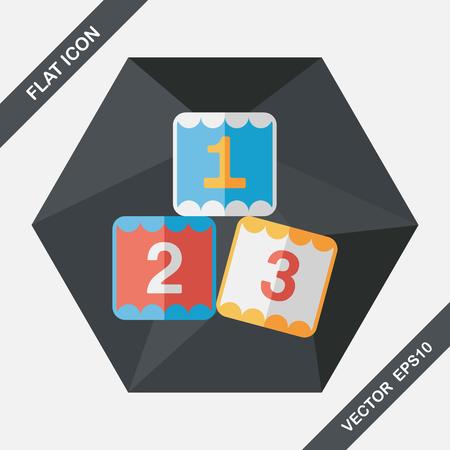 toy blocks: 123 blocks flat icon with long shadow,eps10 Illustration