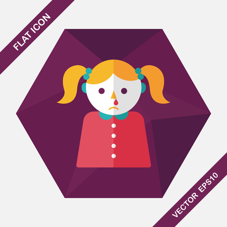 feverish: dripping nose flat icon with long shadow,eps10