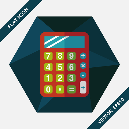 calculator money: calculator flat icon with long shadow,eps10