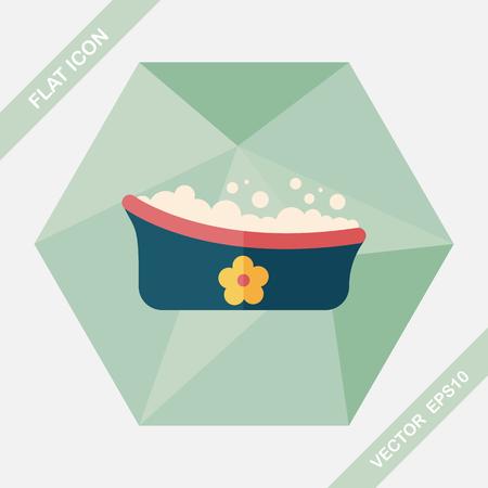 bathtime: baby bath flat icon with long shadow,eps10