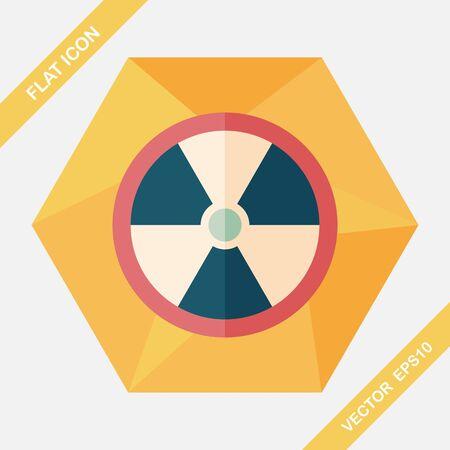 uranium: Radiation flat icon with long shadow,eps10 Illustration