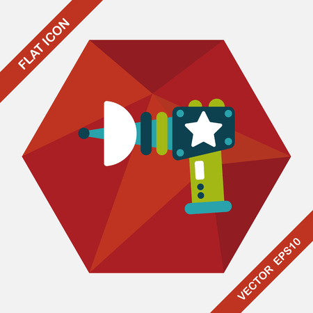 raygun: Space gun flat icon with long shadow,eps10
