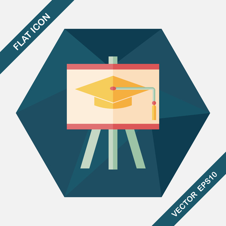 kindergarden: Graduation hat on the blackboard flat icon with long shadow,eps10