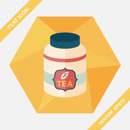 tea leaf: tea canister flat icon with long shadow,eps10 Illustration