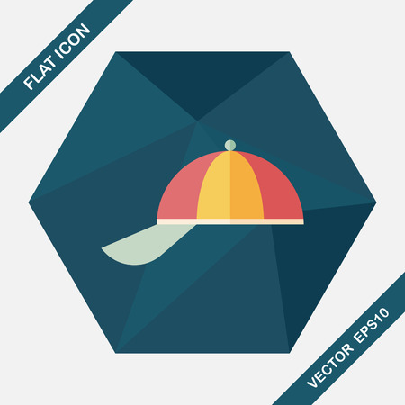 Peaked cap flat icon with long shadow,eps10 Illustration