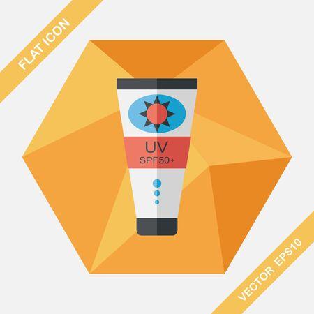 suntan lotion: Sunscreen flat icon with long shadow,eps10 Illustration
