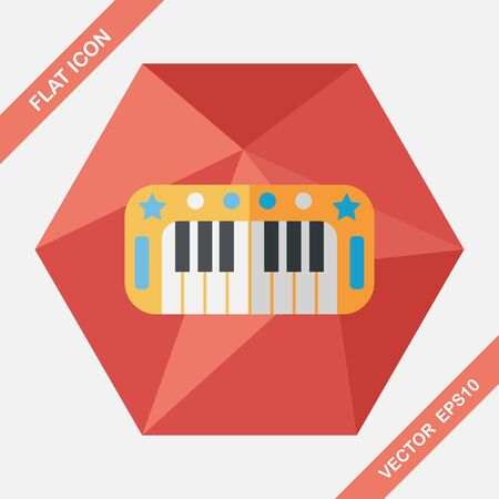 classical arts: piano flat icon with long shadow,eps10 Illustration