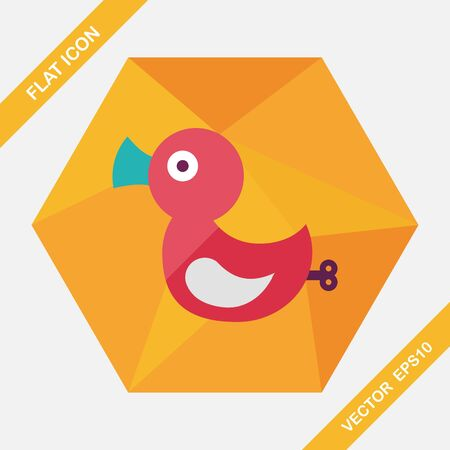 duck toy: Duck toy flat icon with long shadow,eps 10 Illustration