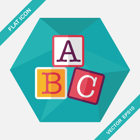 abc letters: ABC blocks flat icon with long shadow,eps10