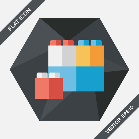 connection block: bricks toy flat icon with long shadow,eps10 Illustration
