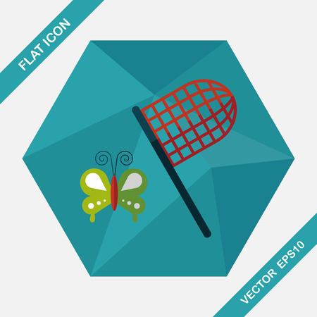 slumber: butterfly net flat icon with long shadow,eps10