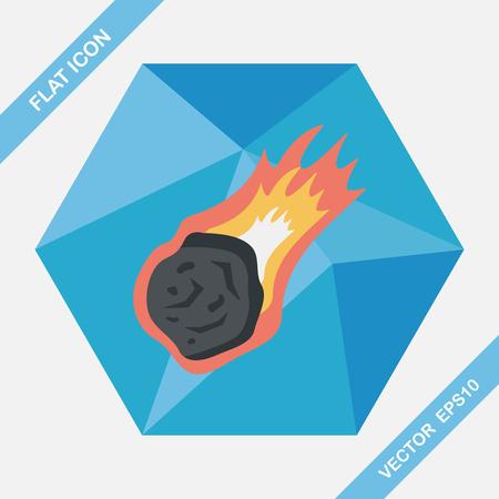 meteorite: Space Meteorite flat icon with long shadow,eps10
