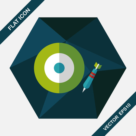 intentions: Darts target flat icon with long shadow,eps10