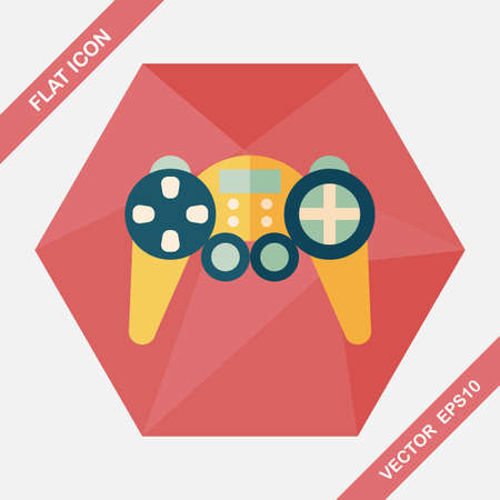 joy pad: Game controller flat icon with long shadow