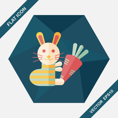 cony: Rabbit with carrot flat icon with long shadow Illustration