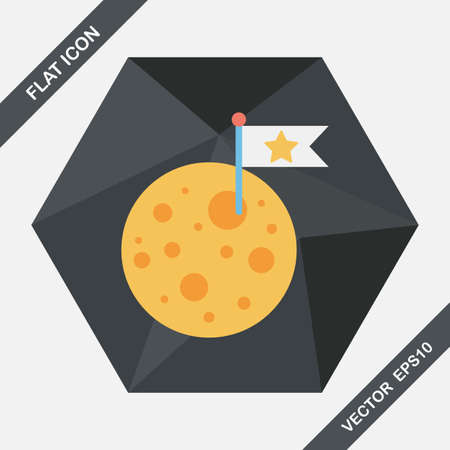 moon shadow: Space moon flat icon with long shadow