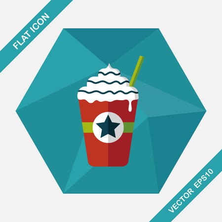 iced: iced blended coffee flat icon with long shadow Illustration