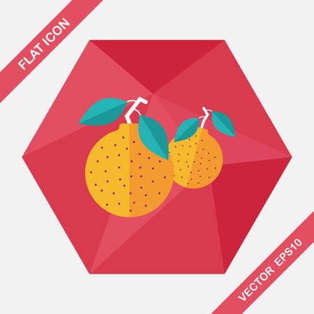 mandarin oranges: Chinese New Year Mandarin Oranges flat icon with long shadow