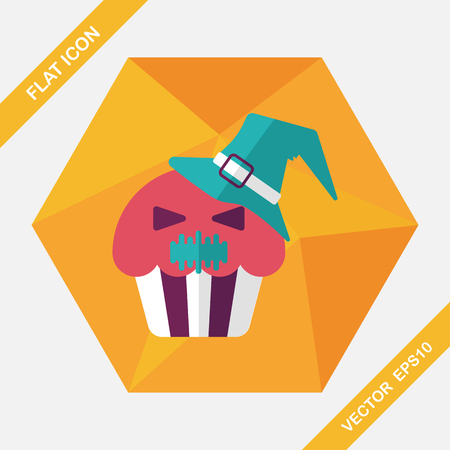 viewpoint: Halloween cupcakes with ghost flat icon with long shadow Illustration