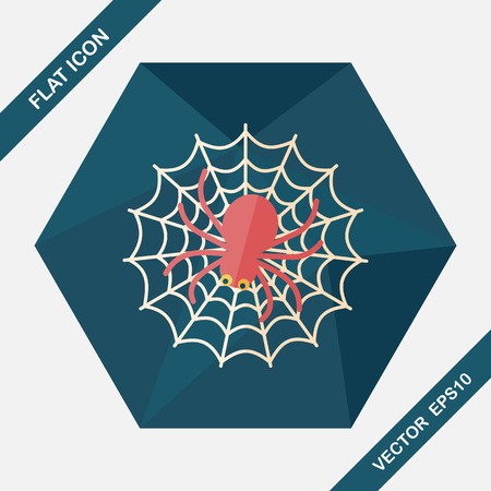 Halloween Spider flat icon with long shadow 向量圖像