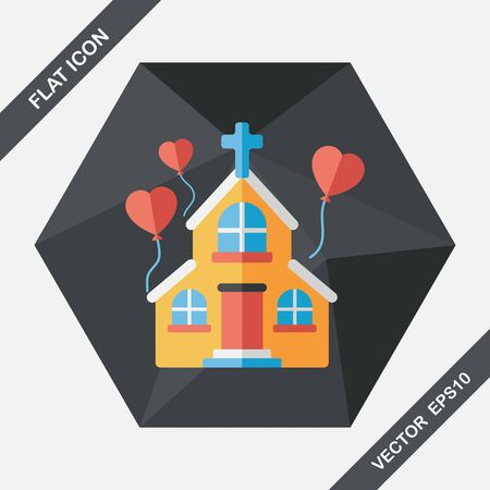 church service: wedding church flat icon with long shadow Illustration