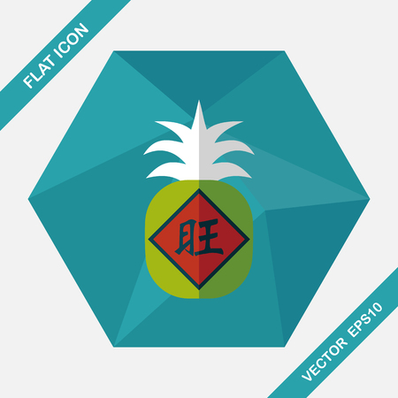 wealthy: Chinese New Year flat icon with long shadow, when you send pineapple for your friends in Chinese New Year means you wish them will be wealthy this year.