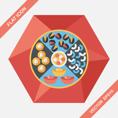 asia family: Chinese New Year flat icon with long shadow, Chinese desserts plate include nuts, candies and cookies. Illustration
